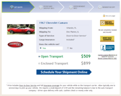 Montway Auto Transport's Instant Vehicle Shipping Rate Widget for ClassicCars dot Com
